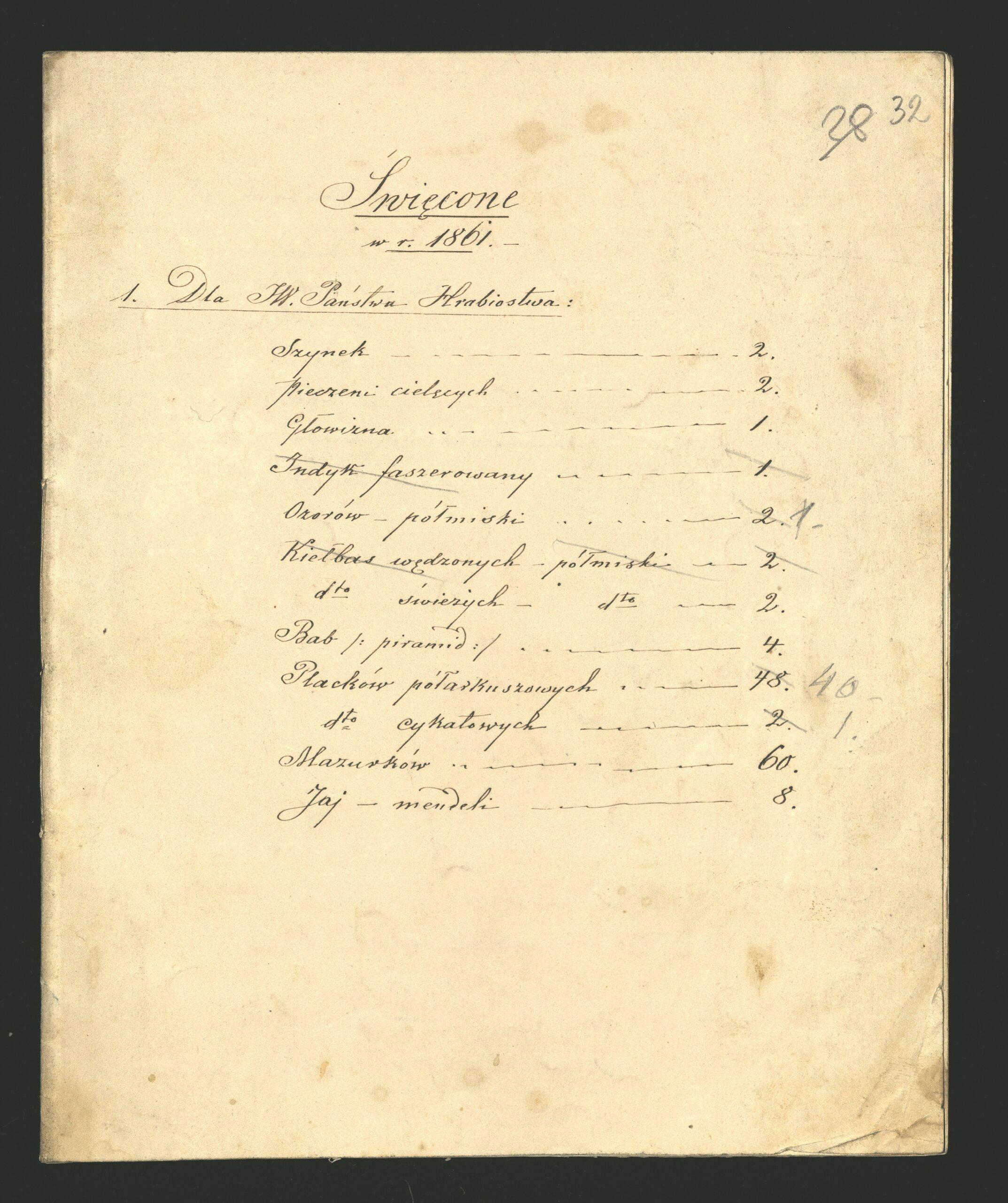 """Pożółkła kartka papieru. Na niej spis: """"Święcone w r. 1861 / Dla JW. Państwa Hrabiostwa: / Szynek: 2 / Pieczeni cielęcych: 2 / Głowizna: 1 / Indyk faszerowany: 1 (przekreślone) / Ozorów półmiski: 1 / Kiełbas wędzonych półmiski: 2 (przekreślone) / Kiełbas świeżych półmiski: 2 / Bab piramid: 4 / Placków półarkuszowych: 40 / Placków cykatowych: 1 / Mazurków: 60 / Jaj mendeli: 8"""""""