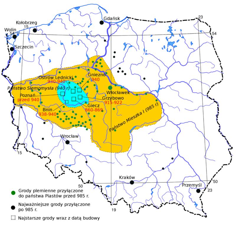 Mapa konturowa Polski w dzisiejszych granicach z zaznaczonym na żółto obszarem znajdującym się pod panowaniem Mieszka I ok. 985 r. Kropkami zaznaczone najważniejsze grody koncentrujące się w Wielkopolsce i na Kujawach.
