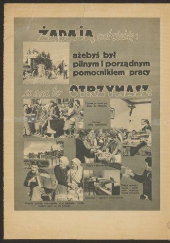 """Druga strona broszury. Na szarym tle u góry napis """"Żądają od Ciebie: ażebyś był pilnym i porządnym pomocnikiem pracy, a za to otrzymasz:"""" Poniżej zdjęcia z życia polskich robotników i podpisy: """"Opiekę w czasie podróży do Niemiec""""; """"Zdrowe i obfite wyżywienie""""; """"Dobre traktowanie""""; """"Schludne i wygodne pomieszkanie""""; """"Wesołe godziny odpoczynku, a w niedzielę i święta możesz udać się do kościoła""""; """"Dobre wynagrodzenie i możliwość zaoszczędzenia pieniędzy""""."""