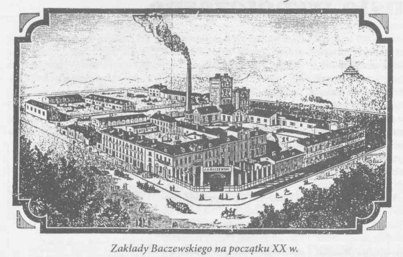 Duży kompleks fabryczny z wysokim, dymiącym kominem po środku, ukazany z góry w widoku izometrycznym.