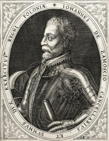Czarno-biała grafika ukazująca brodatego mężczyznę ukazanego od pasa w górę, ubranego w bogatą zbroję błytową.