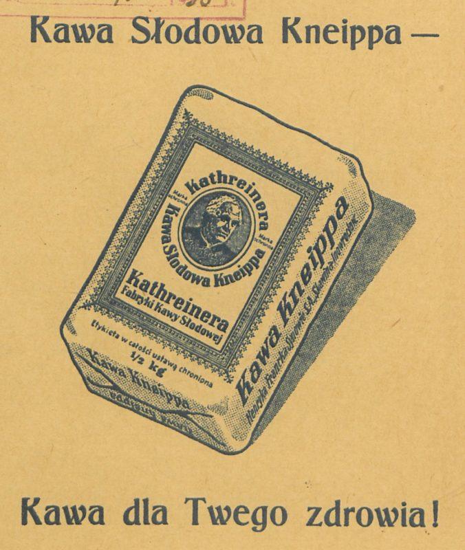 """Ks. Kneipp polecał nie tylko polewanie ciała lodowatą wodą, ale też picie gorącej kawy słodowej, co gorliwie wykorzystał jej producent, reklamujący swój asortyment w biografii """"Z życia wielkiego człowieka: ks.prałat Sebastjan Kneipp"""" (rok 1933)"""