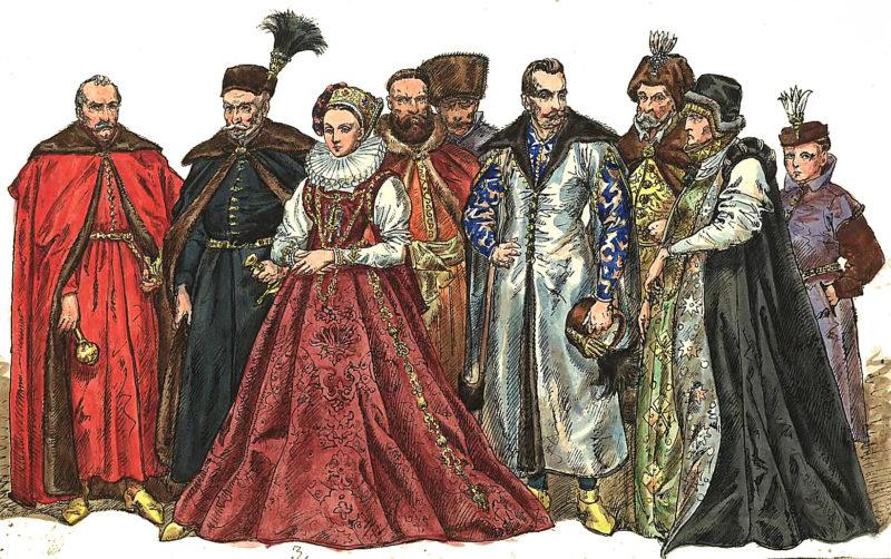 Grupa bogato ubranych szlachciców w kolorowych żupanach i deliach w towarzystwie jednej kobiety w okazałej sukni z kryzą
