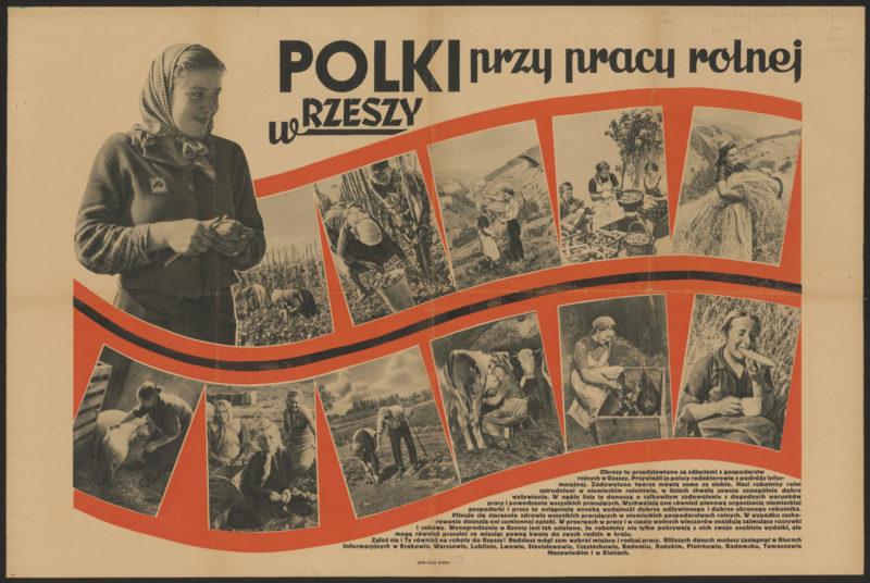 """Poziomy plakat z nagłówkiem """"Polki przy pracy rolnej w Rzeszy"""" i dwunastoma sielankowymi zdjęciami przedstawiającymi kobiety pracujące na wsi."""