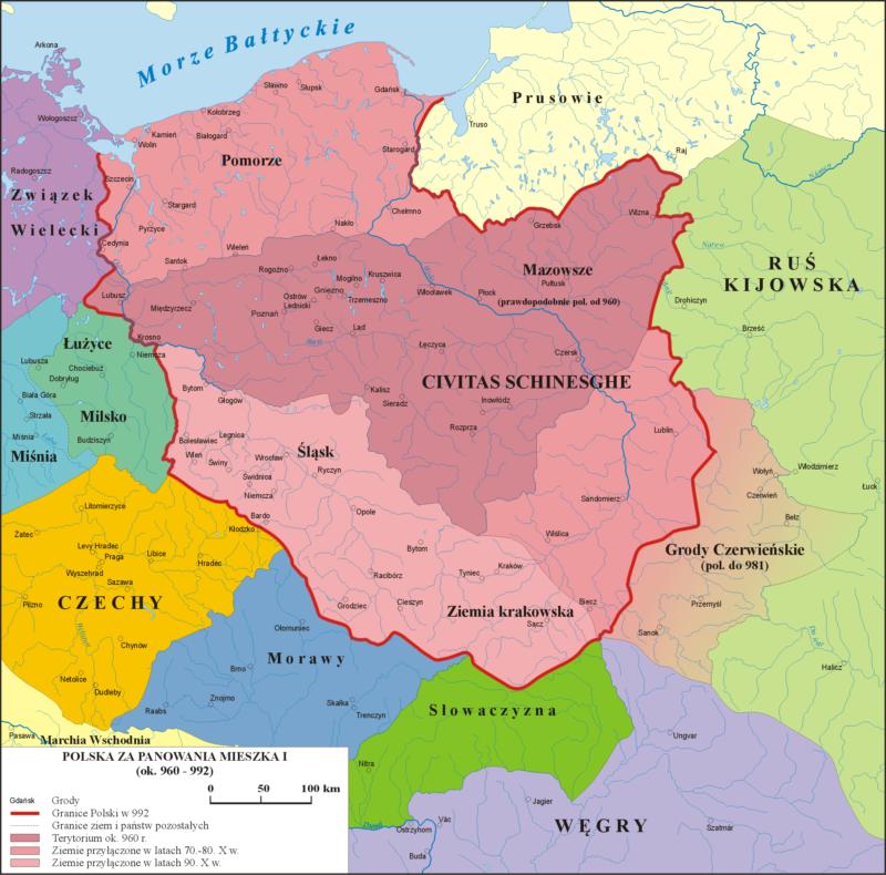 Mapa konturowa Polski w czasach Mieszka I. Różnymi odcieniami czerwonego koloru zaznaczono kolejne fazy rozwoju terytorialnego oraz granice państw sąsiednich.