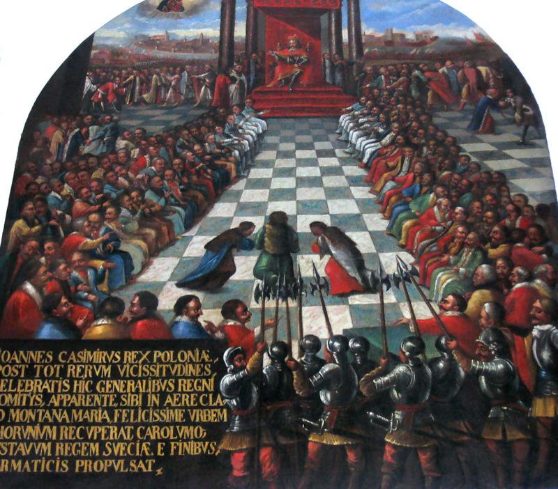 Obraz przedstawiający króla na okazałym czerwonym tronem, przed którym siedzą w kilku rzędach senatorowie. U dołu obrazu straż w zbrojach i z halabardami. Na środku sali klęczą przed królem trzy postacie.