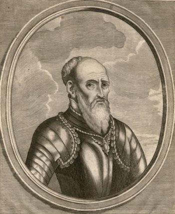 Czarno-biała rycina przedstawiająca mężczyznę z długą brodą i wysokim pomarszczonym czołem, ubranego w zbroję płytową.