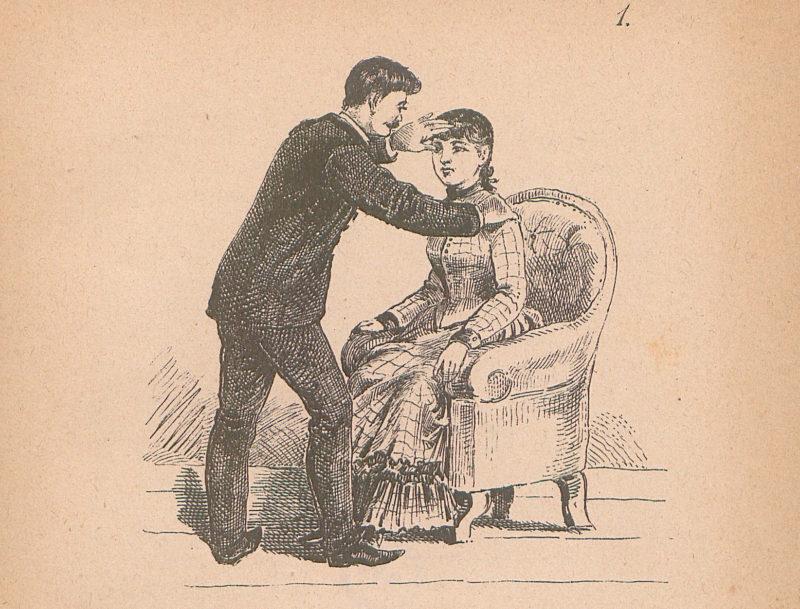 Czarno-biała grafika na szarym papierze. Mężczyzna w garniturze pochyla się nad młodą kobietą w sukni w katkę siedzącą na fotelu. Hipnotyzer trzyma jedną dłoń na jej ramieniu, drugą zaś na jej czole