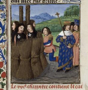 Ilustracja z późnośredniowiecznego manuskryptu. Po prawej pięciu mężczyzn w strojach z białymi krzyżami maltańskimi przywiązani dookoła dwóch słupów i obłożeni słomą. Po lewej król w błękitnej szacie heraldycznej (z liliami) w otoczeniu niewielkiej świty.