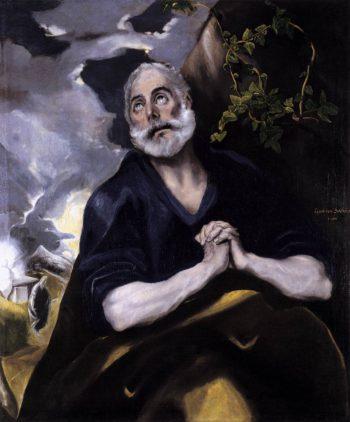 Piotr stoi pod drzewem, jego dłonie złożone są do modlitwy a głowa skierowana ku niebu. Modląc się prosi Boga o wybaczenie. Na jego twarzy rysuje się żal za popełniony grzech, a oczy przepełnione są łzami. Wokół głowy Apostoła widać zielone gałązki, symbolizujące odrodzenie i nawiązujące do drzewa życia jakim był krzyż. Śmierć Chrystusa na krzyżu zapowiada zmartwychwstanie. U jego pasa widoczne są dwa klucze, symbol władzy nad Kościołem dany mu od Jezusa. Po lewej stronie w tle El Greco umieścił małą scenkę. Nie jest ona widoczna na pierwszy rzut oka, ale po głębszym przyjrzeniu się widać Marie Magdalenę odkrywającą pusty grób Jezusa. Obok niej widać jasną postać anioła, który zgodnie z Ewangelią nakazał jej i kobietom jej towarzyszącym, by powiadomili uczniów o zmartwychwstaniu Chrystusa.