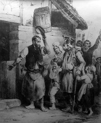Starszy brodaty mężczyzna w mundurze wojskowym, z charakterystyczną wysoką czapką, witany jest przez mężczyznę na progu wiejskiego domu przez gospodarza. Emigrant prowadzony jest pod ręce przez dzieci, za nim widać prawdopodobnie żonę gospodarza i mężczyznę wiwatującego z czapką w ręku.