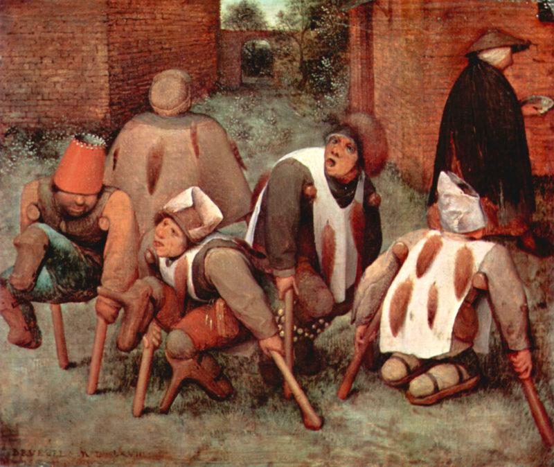 Obraz przedstawia grupę pięciu kalek, prawdopodobnie żebrzących na ulicy lub podczas jakiegoś festynu. Grupa jest czymś poruszona. Każdy z nich ma na głowie odmienne nakrycie głowy, które może wskazywać na różne pochodzenie lub pozycje społeczne: można rozpoznać mitrę (odniesienie do księdza), futrzaną czapkę (mieszczanin), czepek (wieśniak), hełm (żołnierz) i koronę (arystokrata). Z prawej strony widoczna jest kobieta, która oddala się pozostawiając kalekom pożywienie.