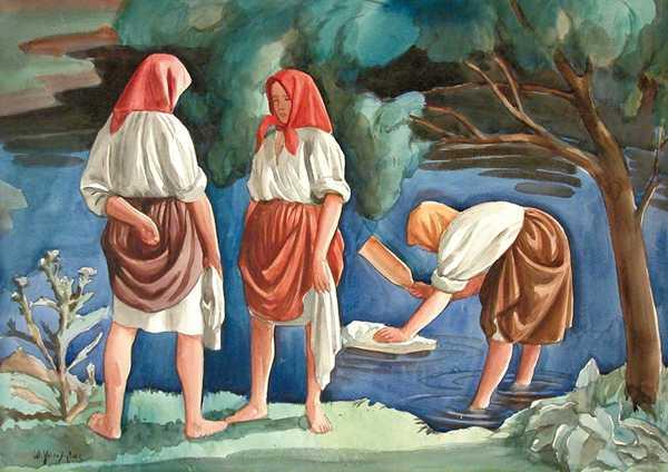 Obraz przedstawiającuyu trzy postacie kobiece w białych koszulach i spódnicach nad rzeką. Dwie z nich stoją i rozmawiają na brzegu, trzecia zaś stoi w wodzie i tłucze kijanką białą tkaninę.
