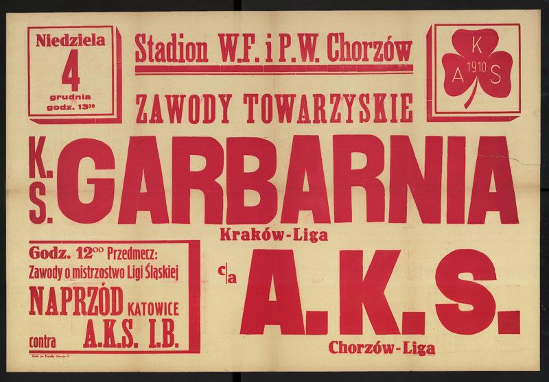 Niedziela 4 grudnia godz. 13.30 zawody towarzyskie K.S. Garbarnia Kraków-Liga c/a A.K.S. Chorzów-Liga