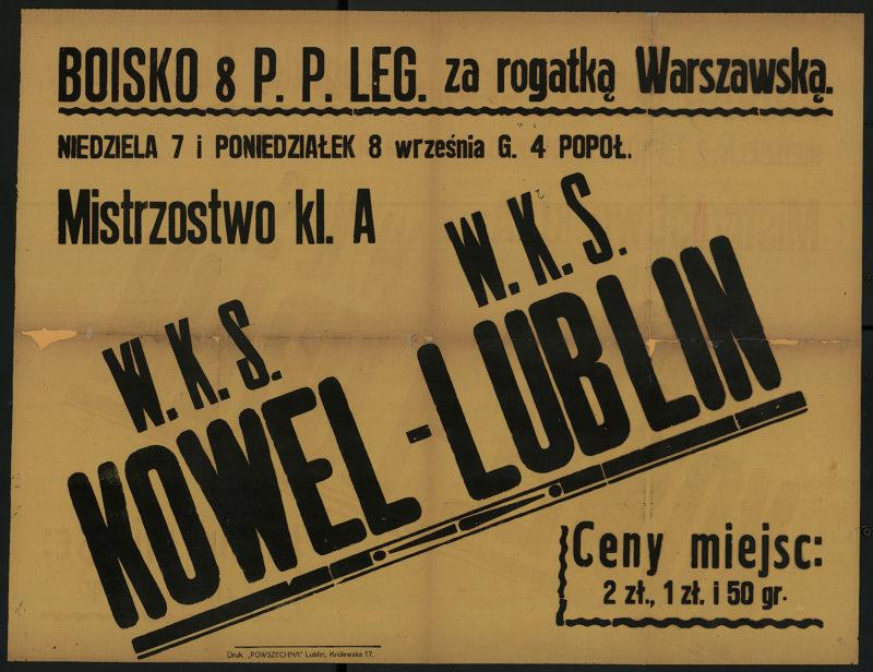 Niedziela 7 i poniedziałek 8 września g. 4 popoł. mistrzostwo kl. A W.K.S. Kowel - W.K.S. Lublin