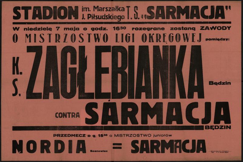 W niedzielę 7 maja o godz. 16.30 rozegrane zostaną zawody o mistrzostwo ligi okręgowej pomiędzy K.S. Zagłębianka Będzin contra Sarmacja Będzin