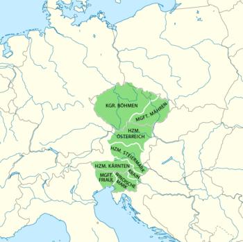 Konturowa mapa Europy środkowej z zaznaczonym na zielono terytorium opanowanym przez Przemysława Ottokara II