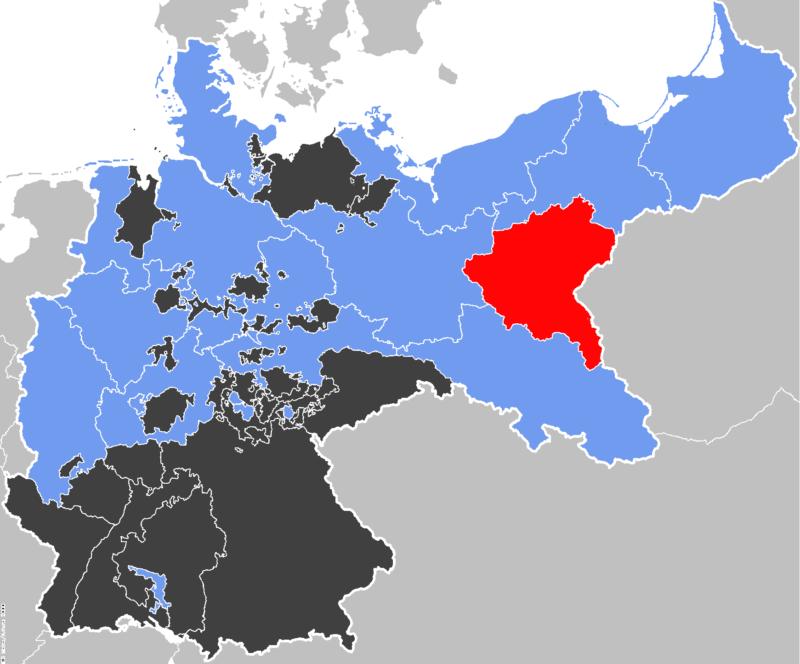 Konturowa mapa Cesarstwa Niemieckiego z zaznaczonymi granicami krajów Rzeszy. Na czerwowo wyróżniona Prowincja Poznańska.
