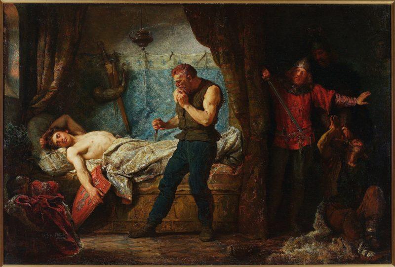 Przemysł śpi z odkrytą piersią na łożu. Jego prawa ręka zwisa z łóżka i spoczywa na tarczy z herbem Orzeł Biały. Do śpiącego króla zbliża się ostrożnie morderca z nożem w ręku. Po prawej stronie kadru za kotarą ukryci dwaj inni zabójcy pilnujący zakneblowanego sługi.